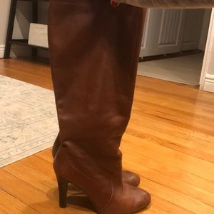 Nine West brown leather high heel boots